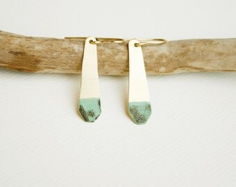 Brass enamel earrings , Gold and mint, Minimalist earrings , Hand cut, organic shape