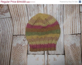 acrylic blend  striped  Baby Hat - 6 - 12 months Hand knit