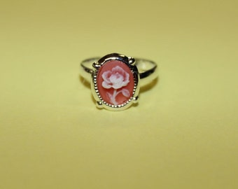 Tiny Pink Flower Silver Cameo Ring