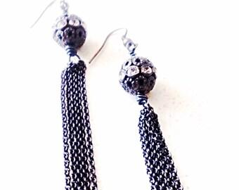Long earrings, tassel earrings, fringe earrings, evening earrings, mothers day gift mom gifts from daughter, long chain earrings
