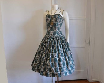 vintage dress / Vintage 1950's Batik Print Sundress 50s Dress Full Skirt