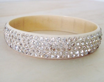 1920s Celluloid Sparkling White Rhinestone Bracelet- Perfect -