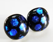 Black Earrings Post Black with Blue Dots Earstuds Studs Royal Blue Dichroic Glass Fused Earrings