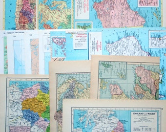 Vintage Map Pages Pack - Set of 7 from 5+ Atlases