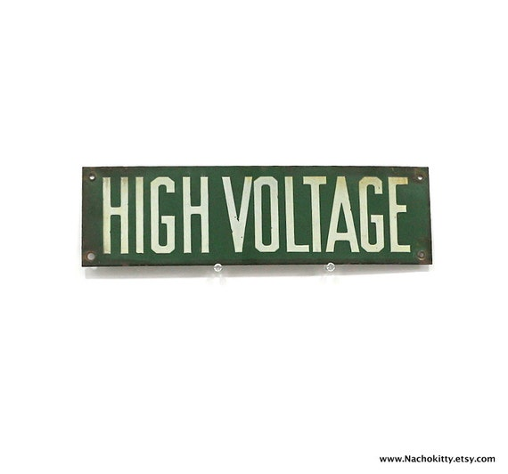 1920s High Voltage Electricity Sign Enamel Green and White Metal Industrial