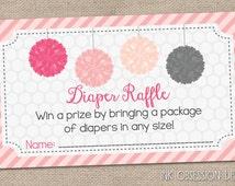 Printable Diaper Raffle Cards Pink & Gray Pom Poms INSTANT DOWNLOAD PDF