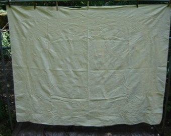 Vintage Yellow Linen Weave Table Cloth Farmhouse Chic Cottage Chic Wedding Decor 1950s Damask Style