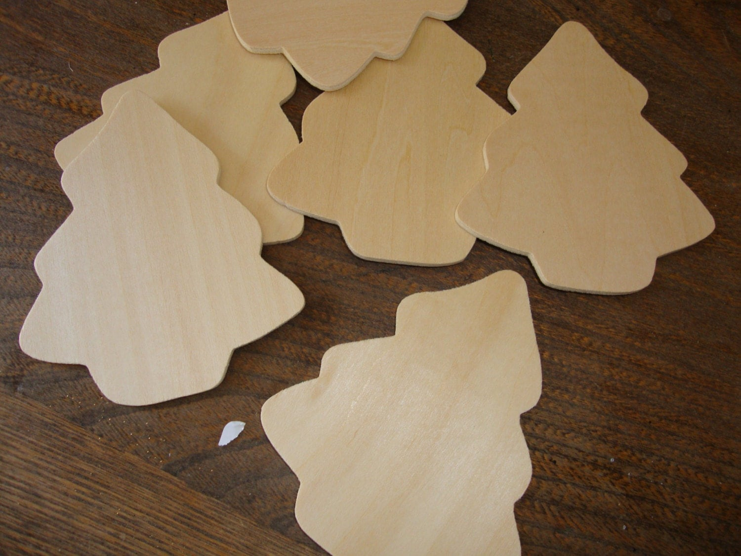 Wood christmas trees unfinished wood cut outs mini christmas for Wooden christmas cutouts