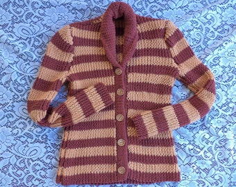 Red and Yellow Striped Cardigan, Shawl Collar Cardigan, Small, Womens Cardigan, Cotton, Handmade, Autumn, Long Sleeved, Warm, Hand Knit