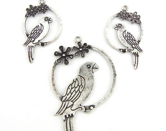 Set of Antique Silver-tone Parrot Pendant and Charms