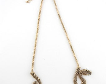 Double Link Popcorn Chain Snake Necklace Gold-tone 15""