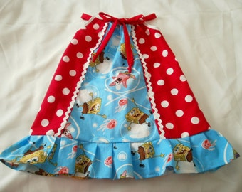 SPONGEBOB and red polka Pillowcase Dress @@ Sizes from 18 Mo. to 8 Girls @@