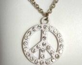 vintage rhinestones white enamel peace sign pendant necklace