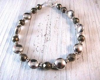 STERLING Silver Pyrite Bracelet