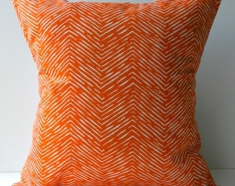 New 18x18 inch Designer Handmade Pillow Case orange chevron pattern.