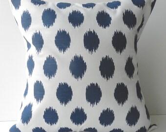 New 18x18 inch Designer Handmade Pillow Cases in navy blue ikat dot