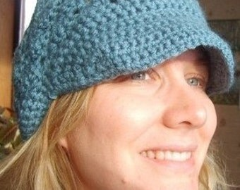 Crochet Pattern Newsboy Hat...pretty with contrasting band