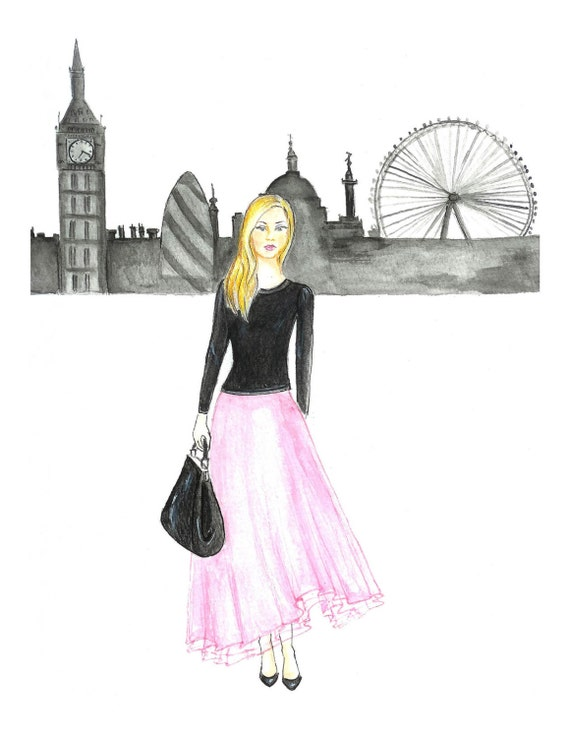 Watercolor Girl in Pink Tulle Skirt Fashion Illustration