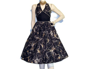Vintage Paint Splatter Print 50s Style Marilyn Halter Sun Dress S M
