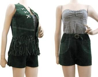60s Green Suede Outfit Vintage Hippie Boho Festival Shorts Vest Fringe Green S M