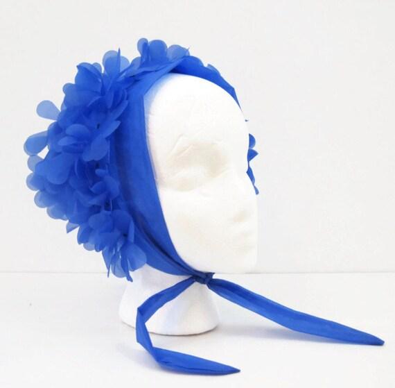 60s Head Scarf  Vintage 3D Flower Nylon Chiffon Neon Bright Blue
