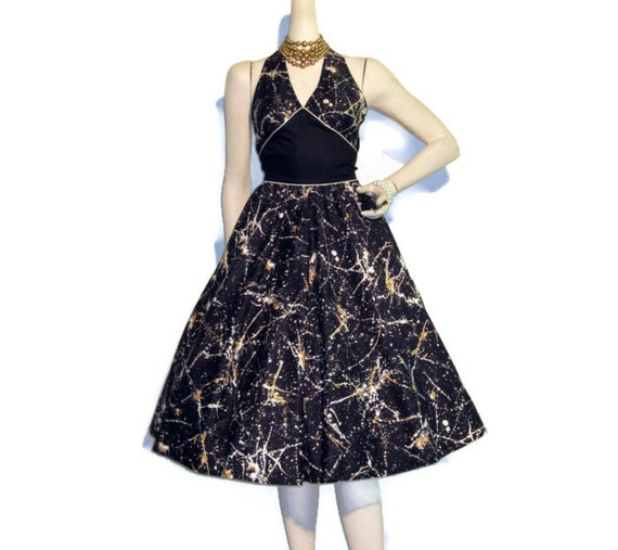 Vintage Paint Splatter Print 50s Style Marilyn Halter Sun Dress S M