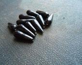 30 black teardrop beads - handmade vintage ceramic black beads - vintage jewelry making supplies