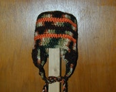 Earflap Hat Fits 3 to 6 month old baby  camo, brown, orange