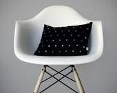 Gold Studded Pillow Cover in Black Linen | Polka Dot Pattern | by JillianReneDecor | Geometric Pillow | Home Decor | Brass Studs