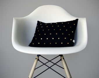 Gold Studded Pillow Cover in Black Linen | Polka Dot Pattern | by JillianReneDecor | Geometric Pillow | Home Decor | Brass Studs
