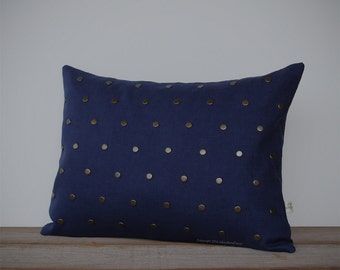 Studded Pillow Cover in Navy Linen | Antiqued Brass Studs | by JillianReneDecor | Geometric Pillow | Modern Home Decor