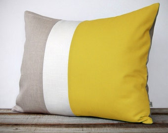 16x20 Color Block Pillow in Yellow, Cream and Natural Linen by JillianReneDecor, Modern Home Decor, Freesia, Buttercup, Bright Colors