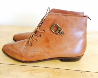 Vintage Brown Lace Up Ankle Boots Women's 10