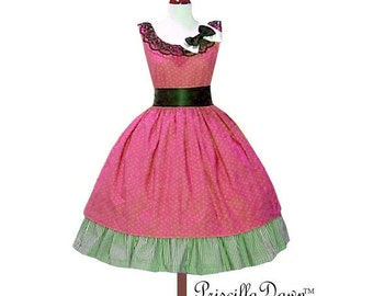 Summer Sale Sizzle me pink Polka dot Rockabilly Dress with Underskirt and bow----- Custom in your size