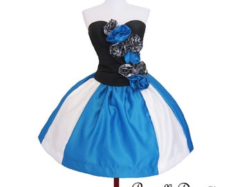 Custom in your size Black and Blue White Fantasy Striped Rossette Dress From PriscillaDawn