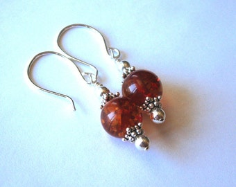 Amber Bead and Sterling Silver Earrings