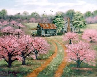 Items Similar To Folk Art Print Country Memories Landscape