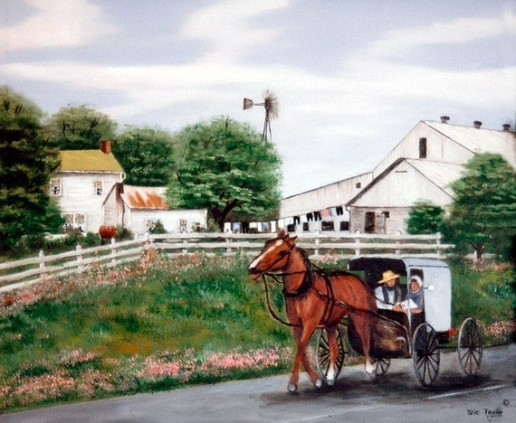 Amish country horse and buggy windmill farm house clothes line Folk Art Print by Arie Reinhardt Taylor