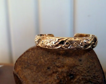 New Born or One Year Old-- Wide Gold Filled Baby Cuff with Swirls and Flowers