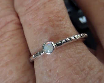 Silver and Opal Stacker