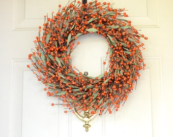 Orange Fall Wreath -Fall Berry Wreath - Autumn door decor - Halloween decor
