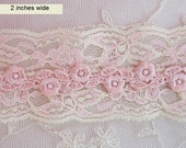 1 Yd  Ivory Blush PINK Tulle Net Embroidered Lace Lingerie Headband Camisole Clothing Jewelry Antique Reborn Doll