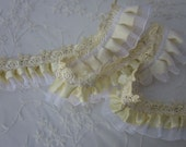 2 inch YELLOW Satin Organza Ruffle Ribbon Lace Trim Baby Doll Dress Sewing Embellishment