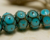 Handmade Glass Lampwork Bead Set - Six Teal Blue w/Metal Dots Rondelle Beads - Raised Dots Design 10409021