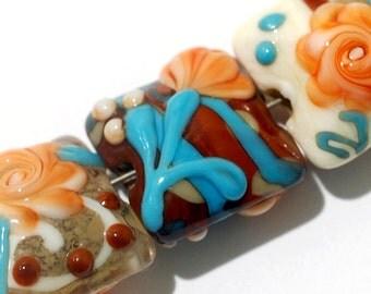 Seven Turquoise Autumn Pillow Beads -11002204-Handmade Lampwork Glass