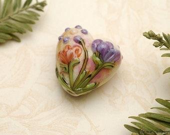 Yellow w/Purple & Orange Flora Heart Focal Bead - Handmade Glass Lampwork Bead 11819205