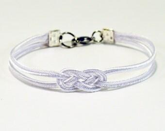 Shiny white double infinity knot delicate minimal nautical rope bracelet