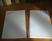 Repurposed Cherry Blossom Lined Stationery Sheets Double Sided