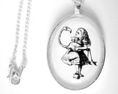Can You Play Croquet Alice In Wonderland Silver Pendant Necklace Black and White