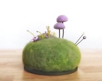 Purple Mushroom Scene - Pin Cushion Miniature Nature Home Decor Sculpture Pincushion Made To Order
